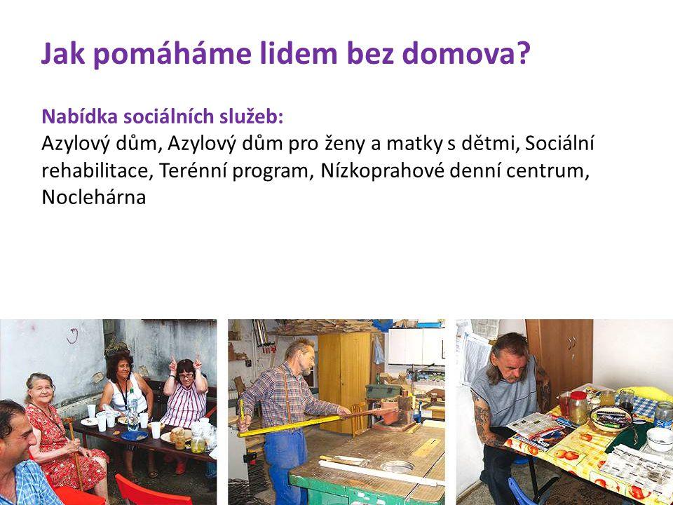 Nabídka sociálních služeb: Azylový dům, Azylový dům pro ženy a matky s dětmi, Sociální rehabilitace, Terénní program, Nízkoprahové denní centrum, Nocl