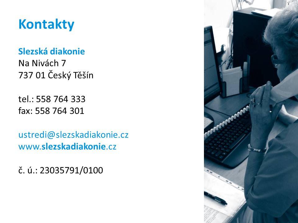 Kontakty Slezská diakonie Na Nivách 7 737 01 Český Těšín tel.: 558 764 333 fax: 558 764 301 ustredi@slezskadiakonie.cz www.slezskadiakonie.cz č. ú.: 2