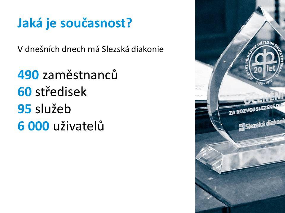 Jaká je současnost? V dnešních dnech má Slezská diakonie 490 zaměstnanců 60 středisek 95 služeb 6 000 uživatelů