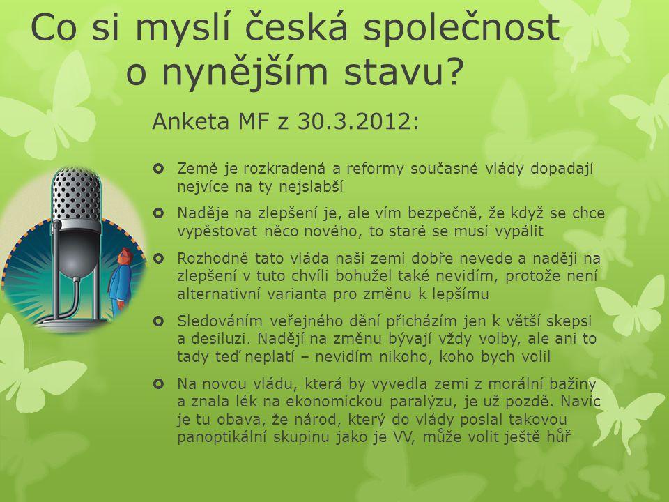 Co si myslí česká společnost o nynějším stavu.