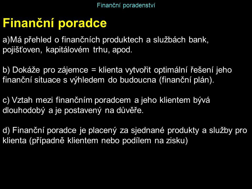 Finanční poradenství Finanční poradce a)Má přehled o finančních produktech a službách bank, pojišťoven, kapitálovém trhu, apod. b) Dokáže pro zájemce