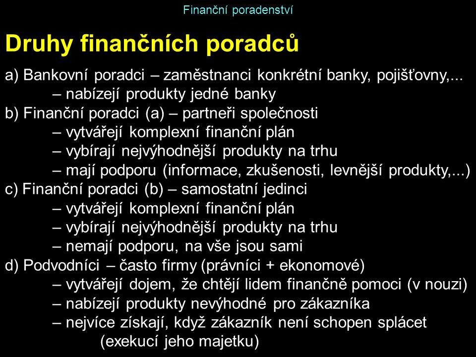 Finanční poradenství Druhy finančních poradců a) Bankovní poradci – zaměstnanci konkrétní banky, pojišťovny,... – nabízejí produkty jedné banky b) Fin