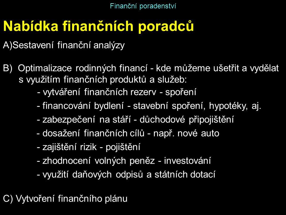 Finanční poradenství Nabídka finančních poradců A)Sestavení finanční analýzy B) Optimalizace rodinných financí - kde můžeme ušetřit a vydělat s využit