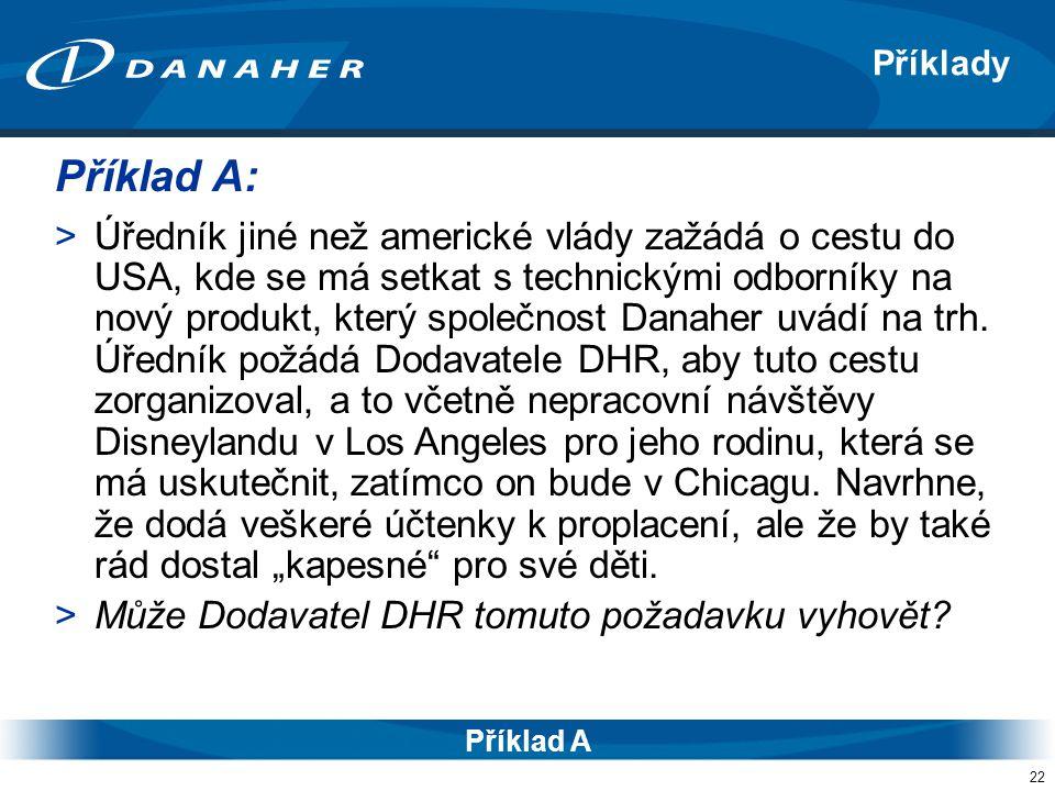 22 Příklady Příklad A >Úředník jiné než americké vlády zažádá o cestu do USA, kde se má setkat s technickými odborníky na nový produkt, který společnost Danaher uvádí na trh.