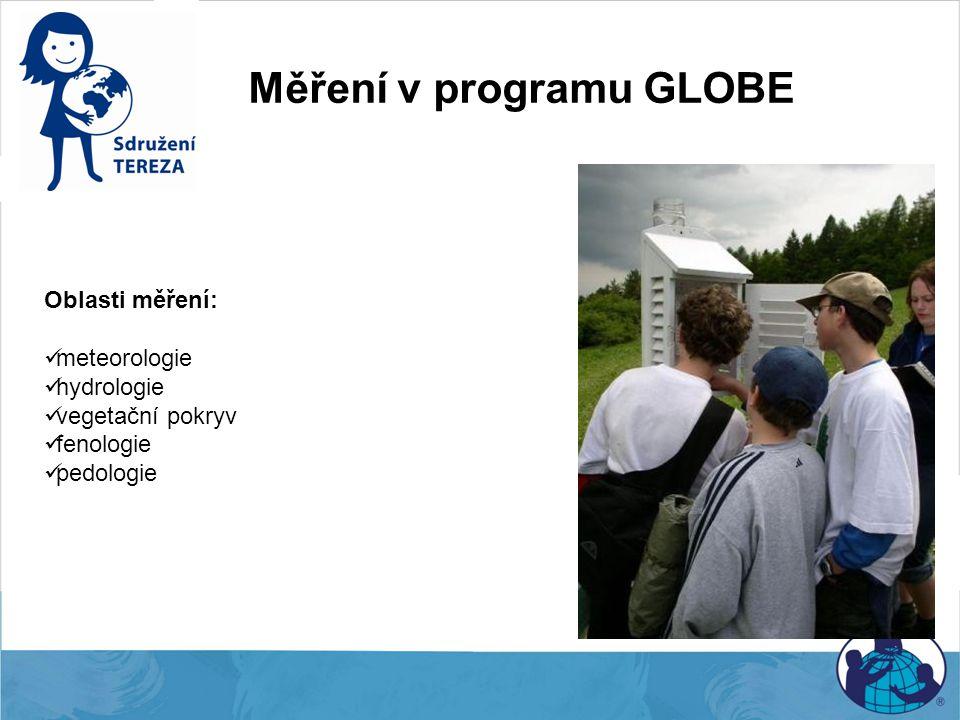 Měření v programu GLOBE Oblasti měření: meteorologie hydrologie vegetační pokryv fenologie pedologie