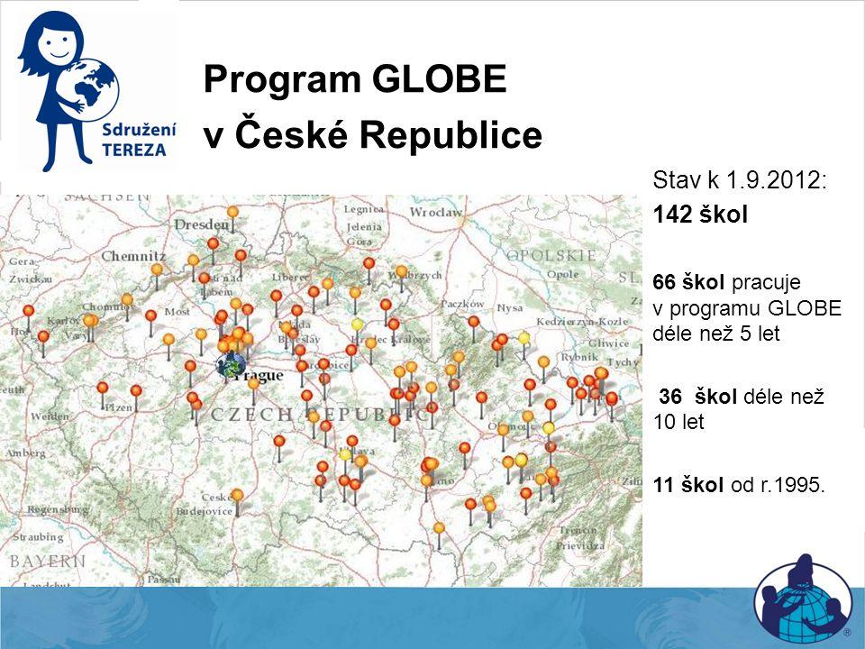 Program GLOBE v České Republice Stav k 1.9.2012: 142 škol 66 škol pracuje v programu GLOBE déle než 5 let 36 škol déle než 10 let 11 škol od r.1995.