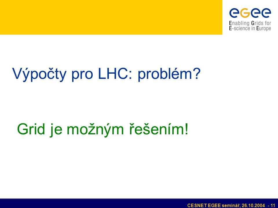 CESNET EGEE seminář, 26.10.2004 - 11 Výpočty pro LHC: problém? Grid je možným řešením!