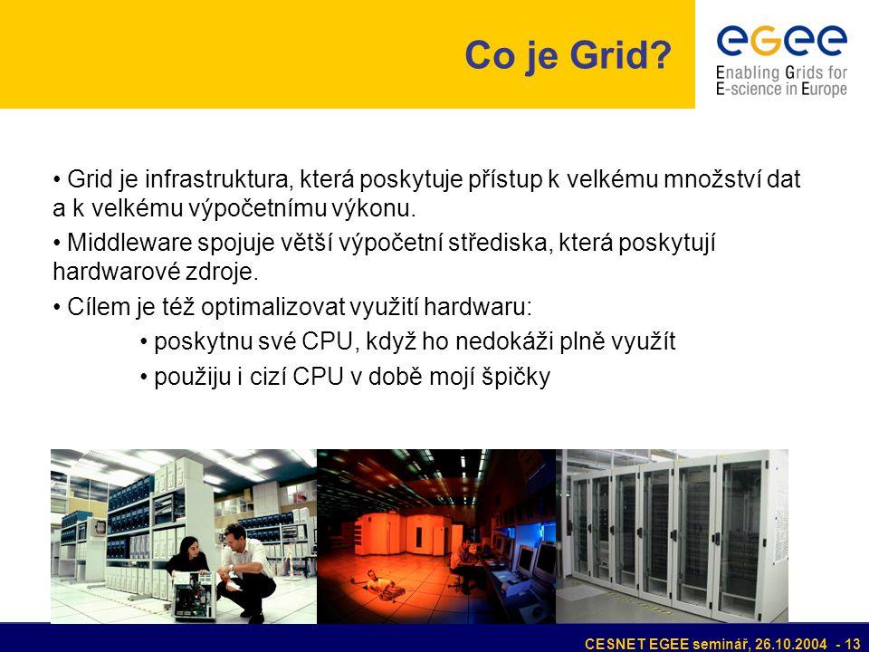 CESNET EGEE seminář, 26.10.2004 - 13 Grid je infrastruktura, která poskytuje přístup k velkému množství dat a k velkému výpočetnímu výkonu.