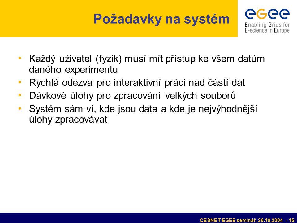 CESNET EGEE seminář, 26.10.2004 - 15 Každý uživatel (fyzik) musí mít přístup ke všem datům daného experimentu Rychlá odezva pro interaktivní práci nad částí dat Dávkové úlohy pro zpracování velkých souborů Systém sám ví, kde jsou data a kde je nejvýhodnější úlohy zpracovávat Požadavky na systém