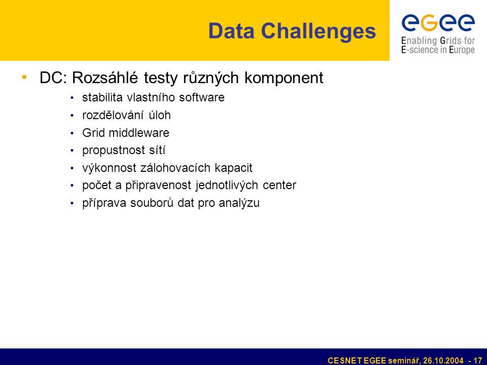 CESNET EGEE seminář, 26.10.2004 - 17 Data Challenges DC: Rozsáhlé testy různých komponent stabilita vlastního software rozdělování úloh Grid middleware propustnost sítí výkonnost zálohovacích kapacit počet a připravenost jednotlivých center příprava souborů dat pro analýzu