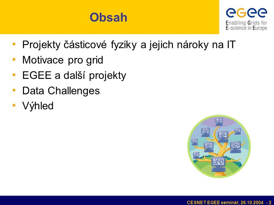CESNET EGEE seminář, 26.10.2004 - 2 Obsah Projekty částicové fyziky a jejich nároky na IT Motivace pro grid EGEE a další projekty Data Challenges Výhled