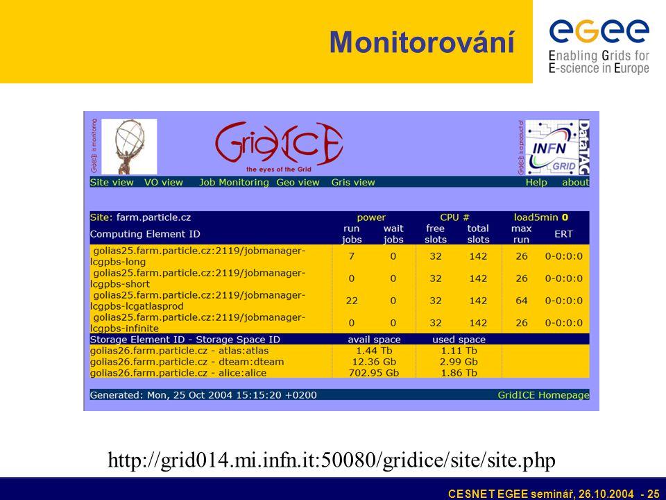CESNET EGEE seminář, 26.10.2004 - 25 Monitorování http://grid014.mi.infn.it:50080/gridice/site/site.php