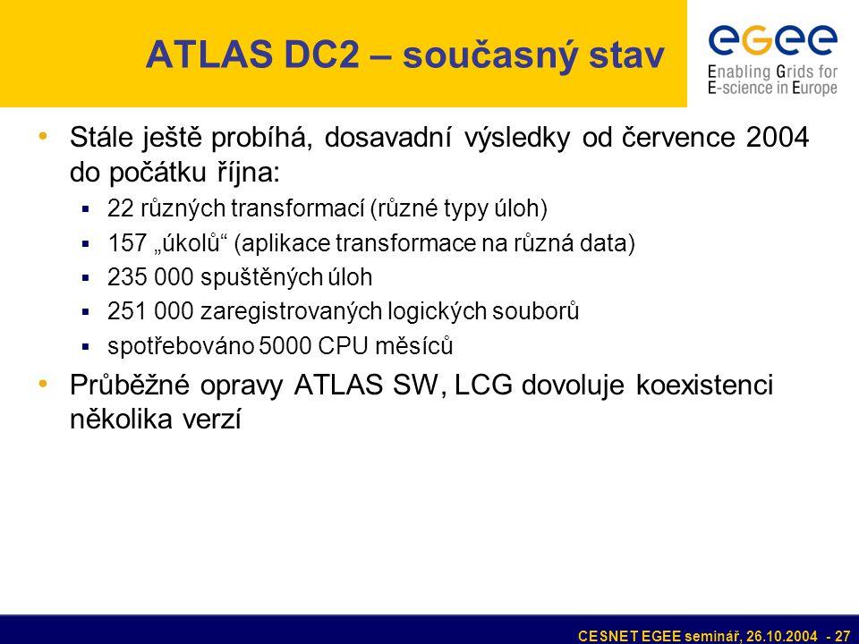 """CESNET EGEE seminář, 26.10.2004 - 27 ATLAS DC2 – současný stav Stále ještě probíhá, dosavadní výsledky od července 2004 do počátku října:  22 různých transformací (různé typy úloh)  157 """"úkolů (aplikace transformace na různá data)  235 000 spuštěných úloh  251 000 zaregistrovaných logických souborů  spotřebováno 5000 CPU měsíců Průběžné opravy ATLAS SW, LCG dovoluje koexistenci několika verzí"""