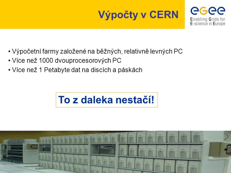 CESNET EGEE seminář, 26.10.2004 - 9 Výpočetní farmy založené na běžných, relativně levných PC Více než 1000 dvouprocesorových PC Více než 1 Petabyte dat na discích a páskách To z daleka nestačí.