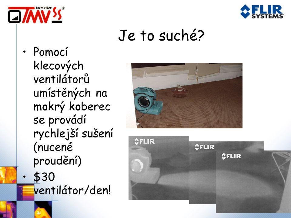 Je to suché? Pomocí klecových ventilátorů umístěných na mokrý koberec se provádí rychlejší sušení (nucené proudění) $30 ventilátor/den!