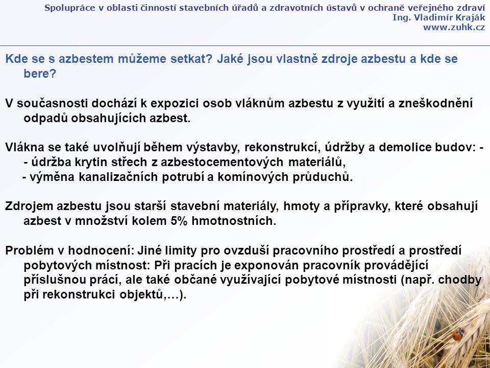 Spolupráce v oblasti činností stavebních úřadů a zdravotních ústavů v ochraně veřejného zdraví Ing. Vladimír Kraják www.zuhk.cz Kde se s azbestem může