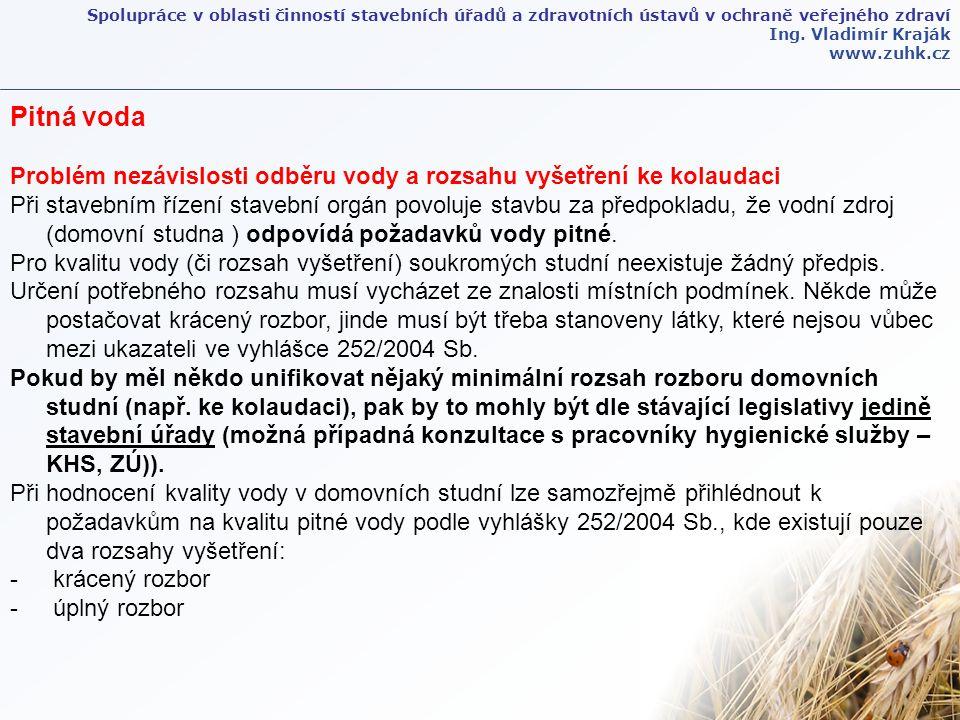 Spolupráce v oblasti činností stavebních úřadů a zdravotních ústavů v ochraně veřejného zdraví Ing. Vladimír Kraják www.zuhk.cz Pitná voda Problém nez