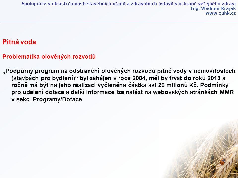 Spolupráce v oblasti činností stavebních úřadů a zdravotních ústavů v ochraně veřejného zdraví Ing. Vladimír Kraják www.zuhk.cz Pitná voda Problematik