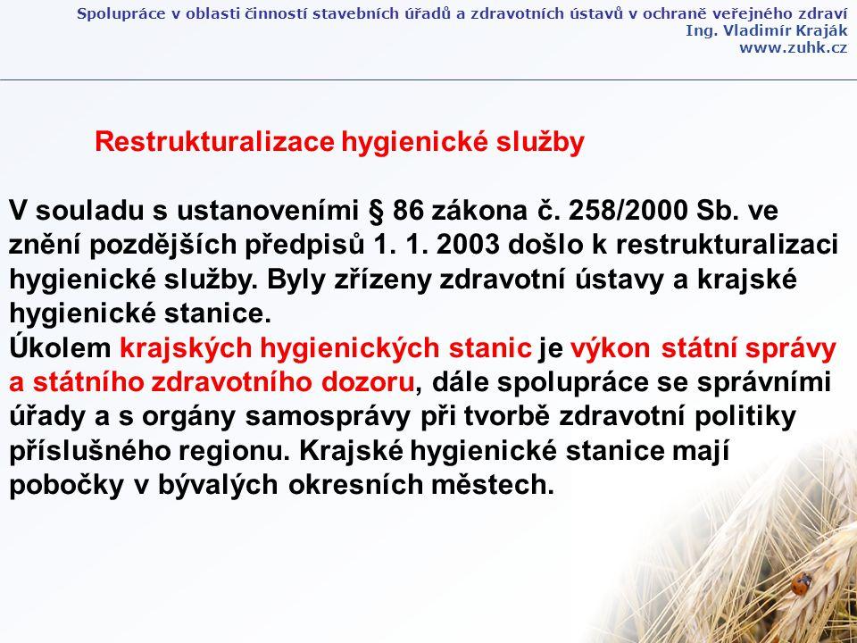 Ing. Vladimír Kraják www.zuhk.cz Restrukturalizace hygienické služby V souladu s ustanoveními § 86 zákona č. 258/2000 Sb. ve znění pozdějších předpisů