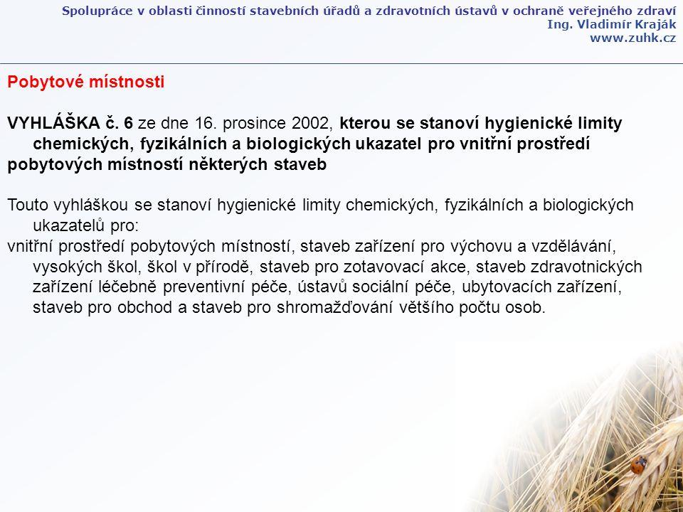 Spolupráce v oblasti činností stavebních úřadů a zdravotních ústavů v ochraně veřejného zdraví Ing. Vladimír Kraják www.zuhk.cz Pobytové místnosti VYH