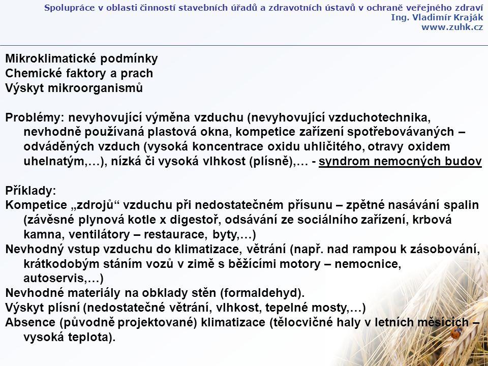 Spolupráce v oblasti činností stavebních úřadů a zdravotních ústavů v ochraně veřejného zdraví Ing. Vladimír Kraják www.zuhk.cz Mikroklimatické podmín