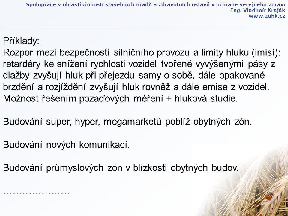 Spolupráce v oblasti činností stavebních úřadů a zdravotních ústavů v ochraně veřejného zdraví Ing. Vladimír Kraják www.zuhk.cz Příklady: Rozpor mezi