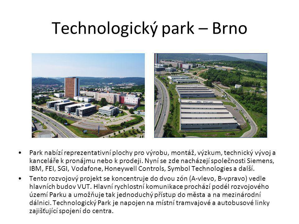 Technologický park – Brno Park nabízí reprezentativní plochy pro výrobu, montáž, výzkum, technický vývoj a kanceláře k pronájmu nebo k prodeji. Nyní s