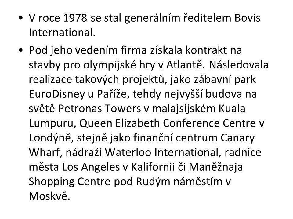 V roce 1978 se stal generálním ředitelem Bovis International. Pod jeho vedením firma získala kontrakt na stavby pro olympijské hry v Atlantě. Následov
