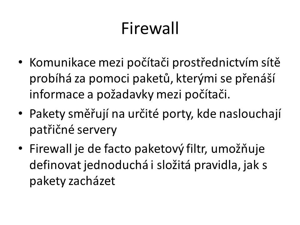 Firewall Komunikace mezi počítači prostřednictvím sítě probíhá za pomoci paketů, kterými se přenáší informace a požadavky mezi počítači. Pakety směřuj