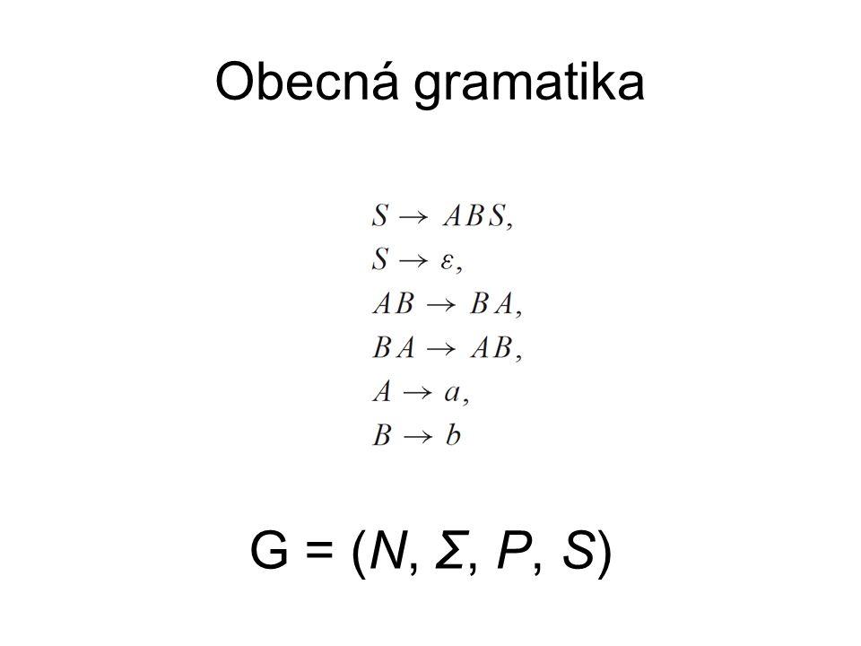 Obecná gramatika G = (N, Σ, P, S)
