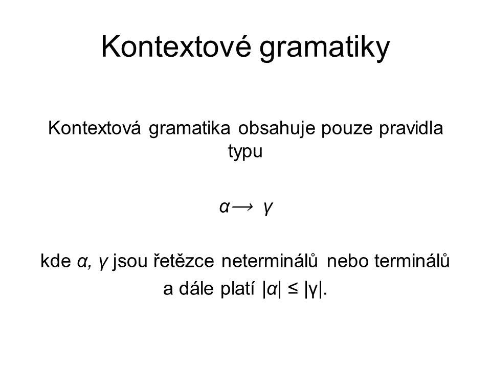 Kontextové gramatiky Kontextová gramatika obsahuje pouze pravidla typu α ⟶ γ kde α, γ jsou řetězce neterminálů nebo terminálů a dále platí |α| ≤ |γ|.