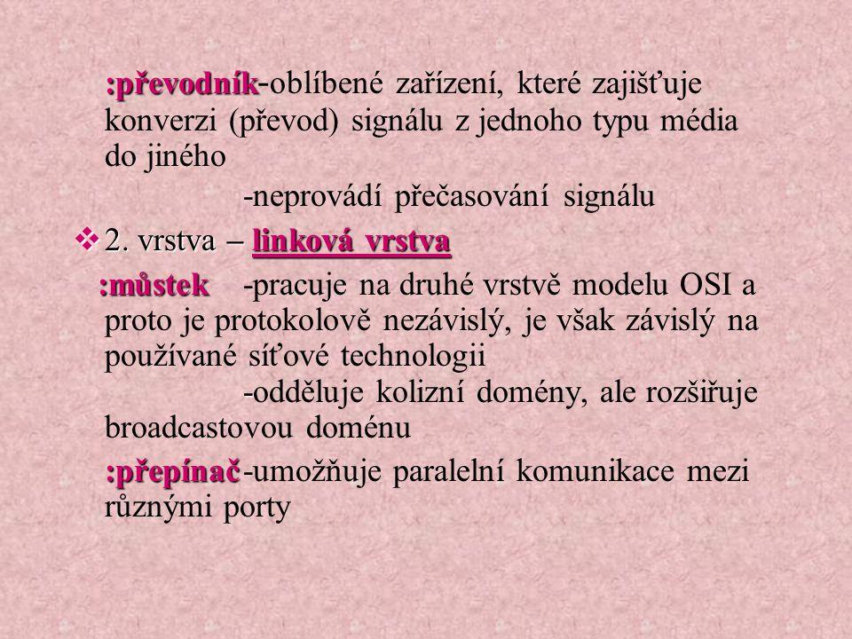 :převodník :převodník - oblíbené zařízení, které zajišťuje konverzi (převod) signálu z jednoho typu média do jiného -neprovádí přečasování signálu  2.