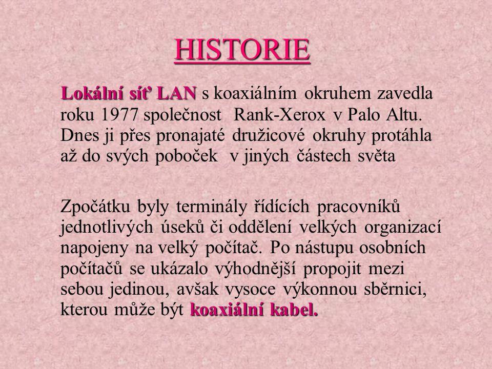 HISTORIE Lokální síť LAN Lokální síť LAN s koaxiálním okruhem zavedla roku 1977 společnost Rank-Xerox v Palo Altu.