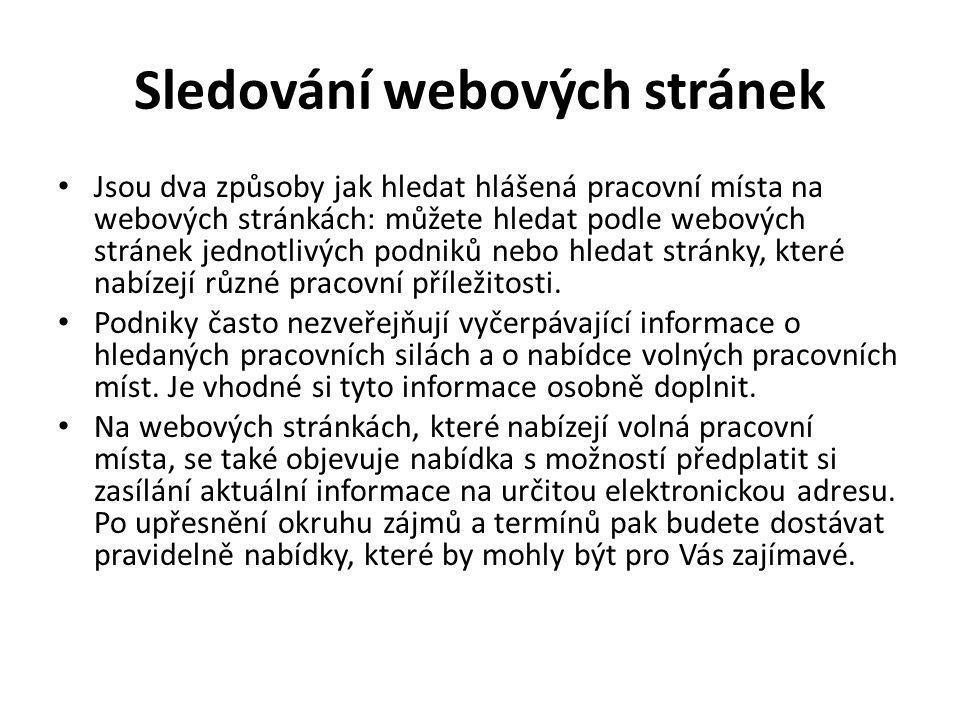 Seznam webů www.jobs.cz www.prace.cz www.majora.cz www.careerjet.cz www.easy-prace.cz www.cvonline.cz www.jobpilot.cz www.vypracujse.cz www.prace-rychle.cz www.profesia.cz www.europa.eu/eures