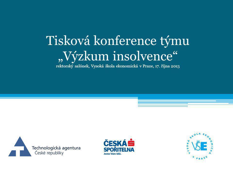 """Tisková konference týmu """"Výzkum insolvence rektorský salónek, Vysoká škola ekonomická v Praze, 17."""