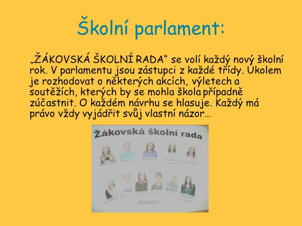 """Školní parlament: """"ŽÁKOVSKÁ ŠKOLNÍ RADA"""" se volí každý nový školní rok. V parlamentu jsou zástupci z každé třídy. Úkolem je rozhodovat o některých akc"""