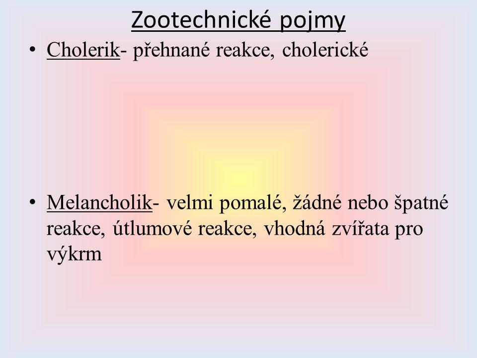 Zootechnické pojmy Cholerik- přehnané reakce, cholerické Melancholik- velmi pomalé, žádné nebo špatné reakce, útlumové reakce, vhodná zvířata pro výkr