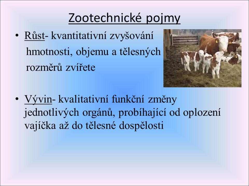 Zootechnické pojmy R ůst- kvantitativní zvyšování hmotnosti, objemu a tělesných rozměrů zvířete V ývin- kvalitativní funkční změny jednotlivých orgánů