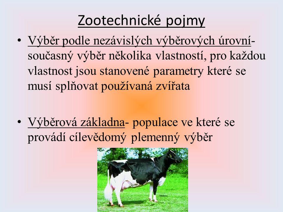 Zootechnické pojmy Výběr podle nezávislých výběrových úrovní- současný výběr několika vlastností, pro každou vlastnost jsou stanovené parametry které