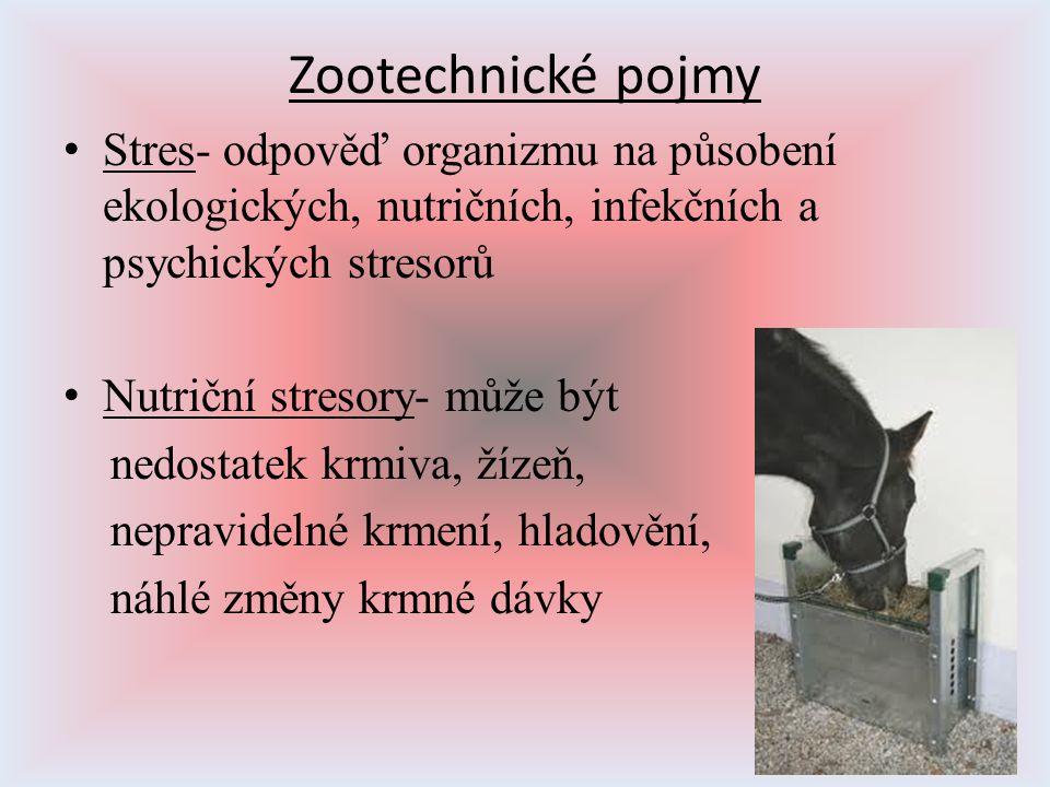 Zootechnické pojmy Stres- odpověď organizmu na působení ekologických, nutričních, infekčních a psychických stresorů Nutriční stresory- může být nedost