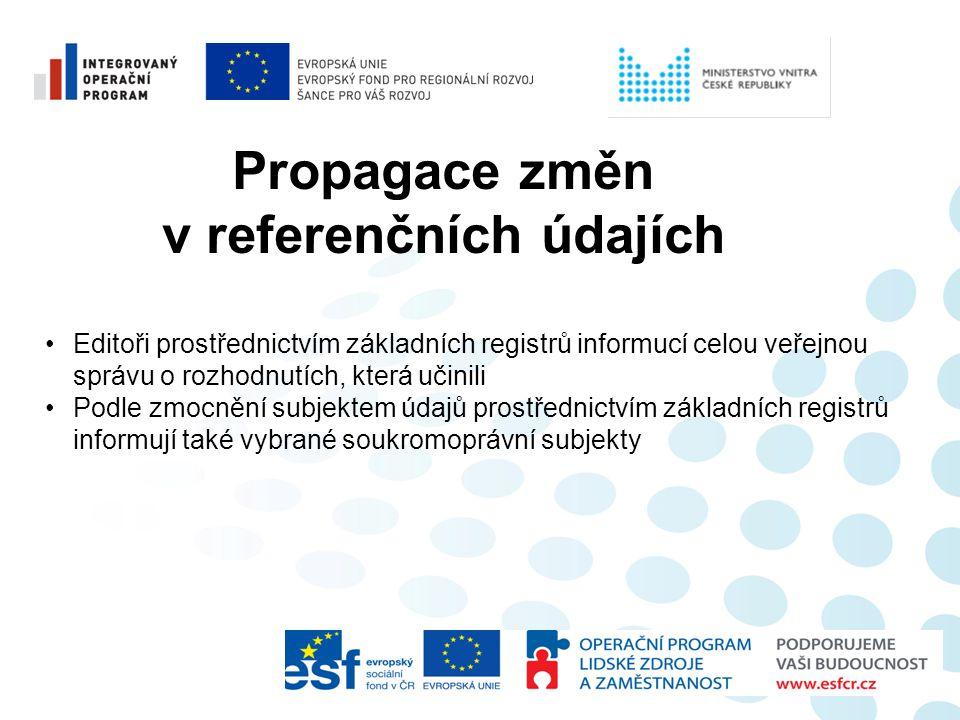 Propagace změn v referenčních údajích •Editoři prostřednictvím základních registrů informucí celou veřejnou správu o rozhodnutích, která učinili •Podl