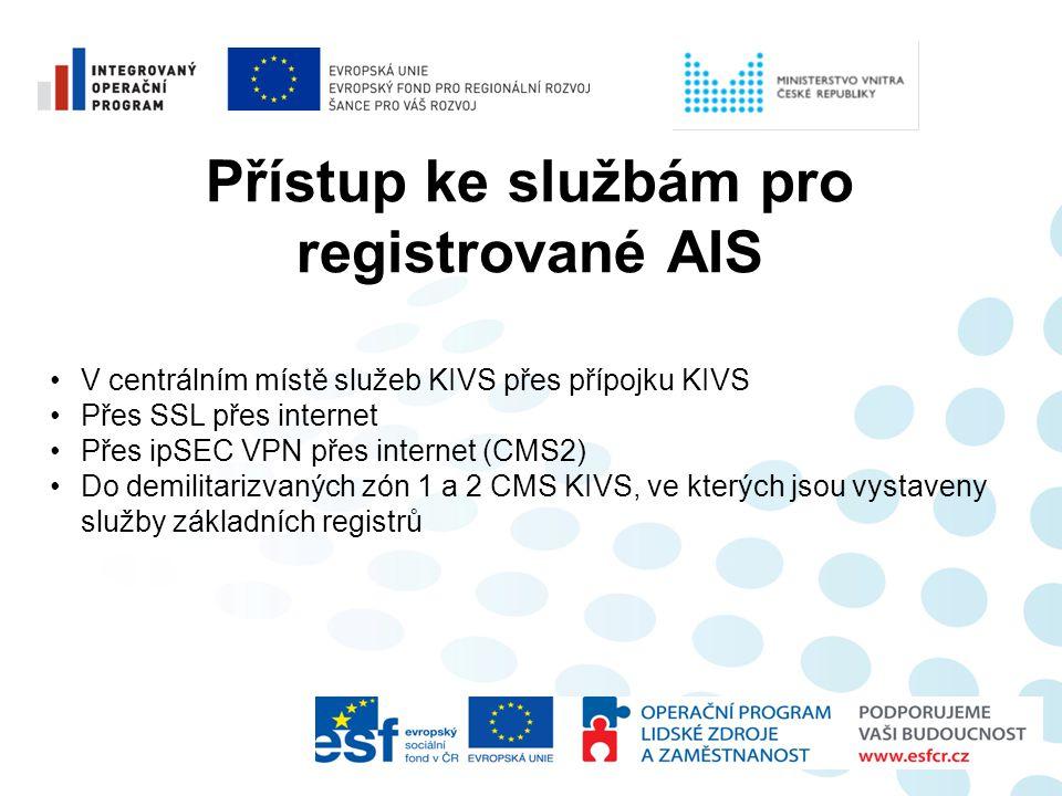 Přístup ke službám pro registrované AIS •V centrálním místě služeb KIVS přes přípojku KIVS •Přes SSL přes internet •Přes ipSEC VPN přes internet (CMS2
