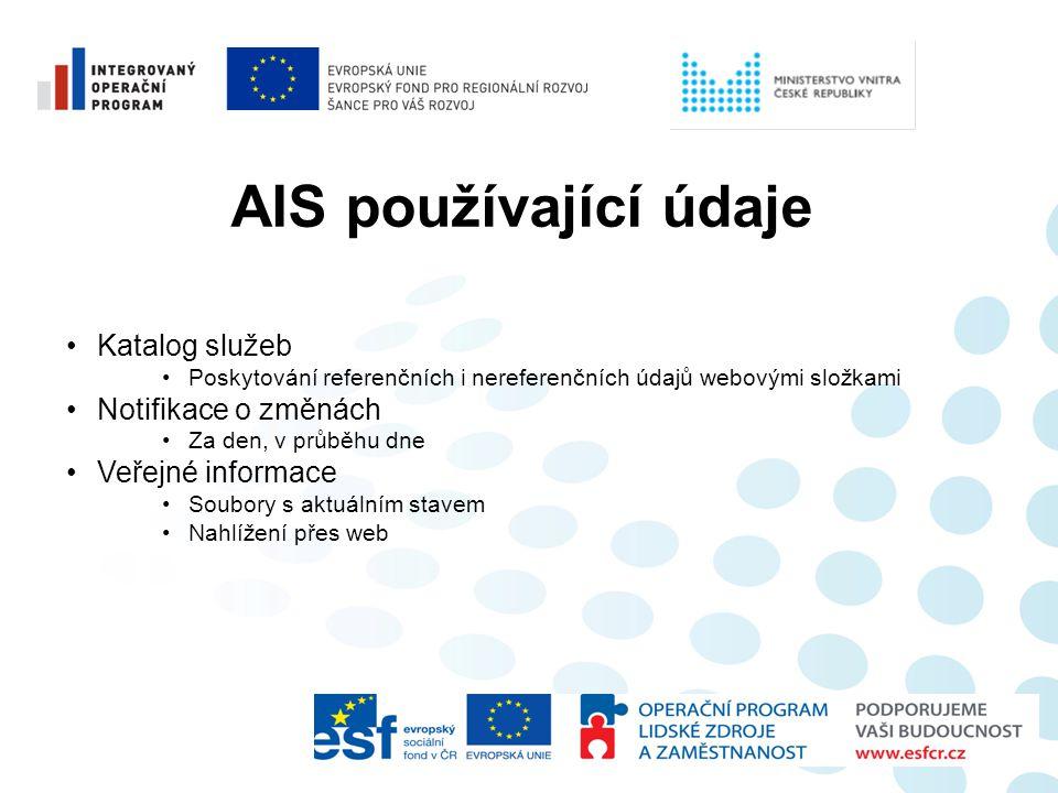 AIS používající údaje •Katalog služeb •Poskytování referenčních i nereferenčních údajů webovými složkami •Notifikace o změnách •Za den, v průběhu dne