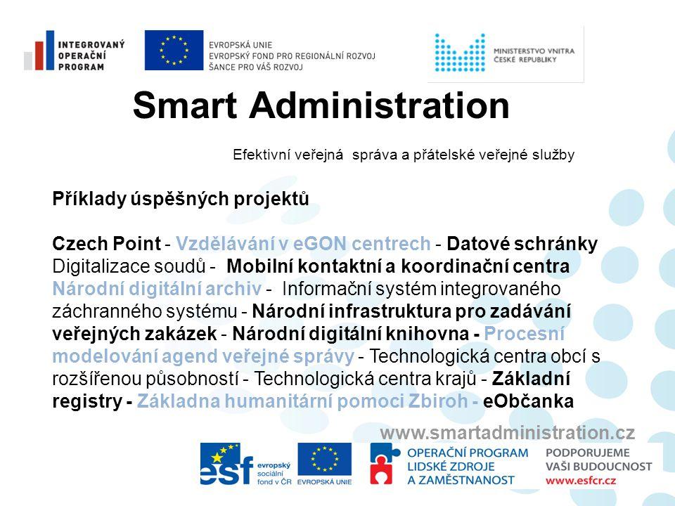 Smart Administration Efektivní veřejná správa a přátelské veřejné služby www.smartadministration.cz Příklady úspěšných projektů Czech Point - Vzdělává