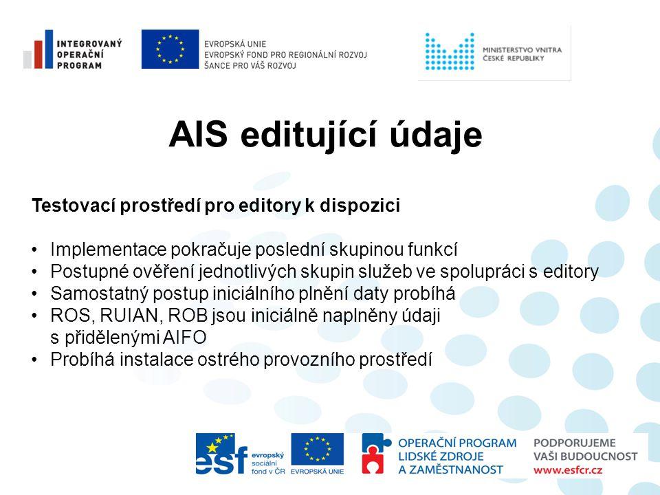 AIS editující údaje Testovací prostředí pro editory k dispozici •Implementace pokračuje poslední skupinou funkcí •Postupné ověření jednotlivých skupin