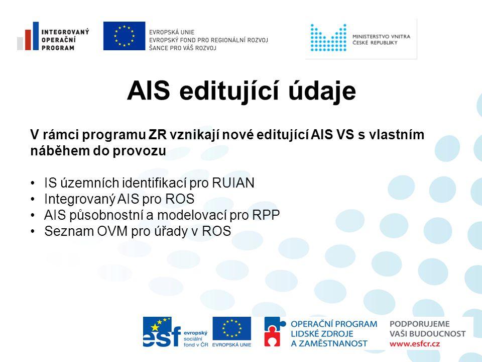 AIS editující údaje V rámci programu ZR vznikají nové editující AIS VS s vlastním náběhem do provozu •IS územních identifikací pro RUIAN •Integrovaný