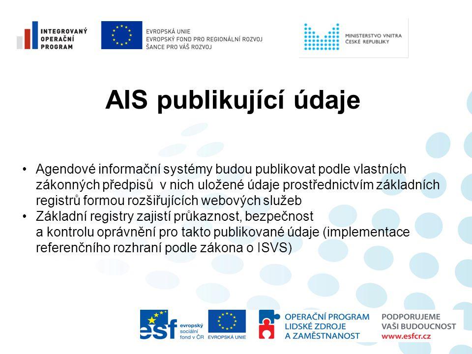 AIS publikující údaje •Agendové informační systémy budou publikovat podle vlastních zákonných předpisů v nich uložené údaje prostřednictvím základních