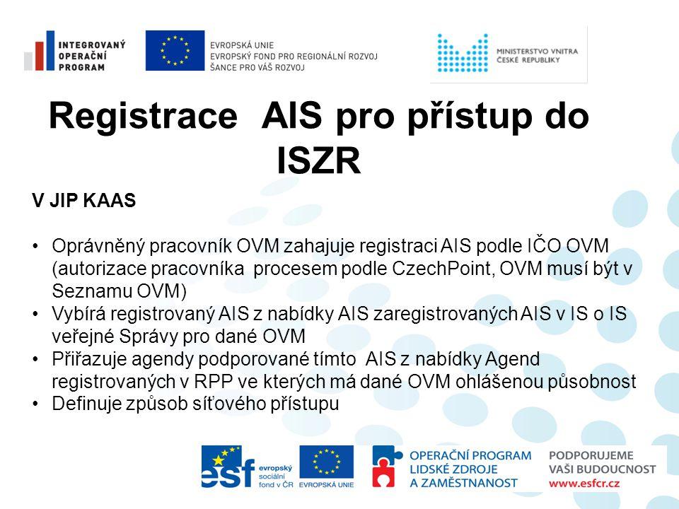 Registrace AIS pro přístup do ISZR V JIP KAAS •Oprávněný pracovník OVM zahajuje registraci AIS podle IČO OVM (autorizace pracovníka procesem podle Cze