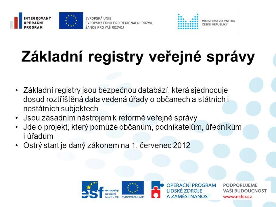 Základní registry veřejné správy •Základní registry jsou bezpečnou databází, která sjednocuje dosud roztříštěná data vedená úřady o občanech a státníc