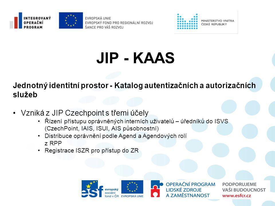 JIP - KAAS Jednotný identitní prostor - Katalog autentizačních a autorizačních služeb •Vzniká z JIP Czechpoint s třemi účely •Řízení přístupu oprávněn